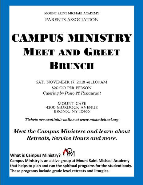Mount saint michael academy october 9 2018 campus ministry meet greet brunch m4hsunfo